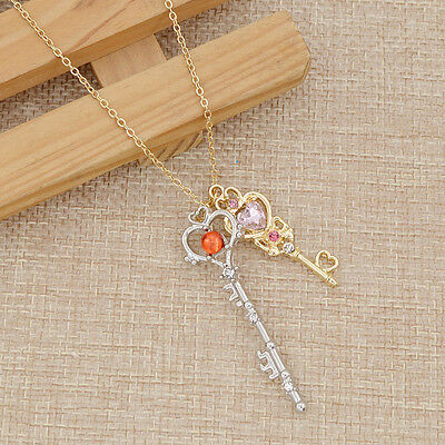 Sailor Moon Golden Silver Keys Pendant Metal Necklace Japanse Anime Cosplay