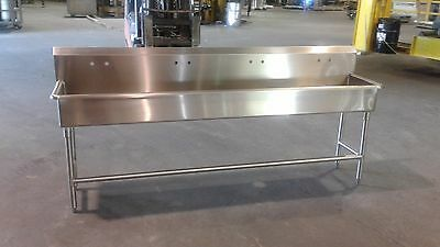 "96"" x 20"" x 36"" Tall  Stainless Steel Handwash Sink with 8 Inch Backsplash"