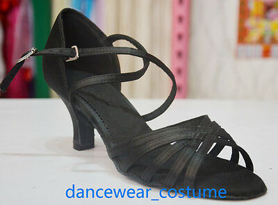Ladies Satin Prom Party Ballroom Latin Tango Salsa Dance Shoes 6cm Heels US6 B17