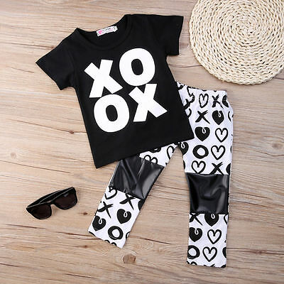 2Pcs Toddler Baby Girls Tops T-shirt Pants Home Outfits Set Clothes US Stock