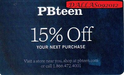 POTTERY BARN TEEN In-Store/Online CPN -  15% OFF Next  Purchase! - Exp 12/10/17