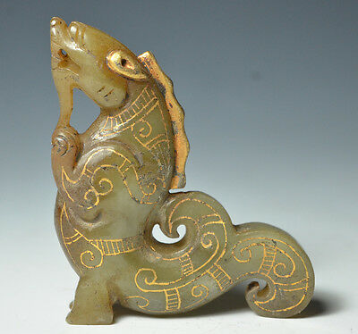 Unusual Ancient Chinese Gold Plating Jade Dragon Fish Statue Amulet