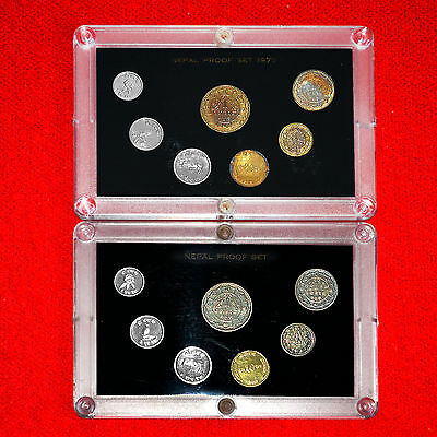 1973 & 1974 Nepal Proof Sets (2 Sets) (14 Coins) Rare Authentic Issue +Boxes+Coa