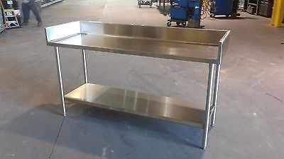 "72"" x 24 7/8"" x 36"" Tall  Stainless Steel Prep Table with 6 3/8"" Backsplash"