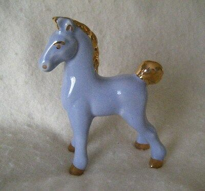 Vintage '50s Pale Blue Ceramic Hand Painted Horse Figurine with Golden Accents