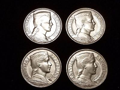 1931 Latvia 5 Lati Silver Circulated coins - Lot of 4 (LN318)