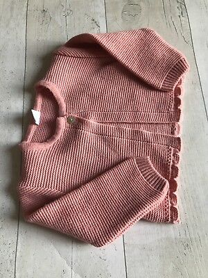 Baby Girls Knitted Cardigan Salmon 6 Months (Orange Coral) Spanish Style