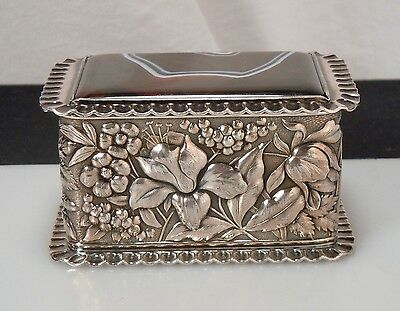 Antique Repousse Silver Plate & Agate Box - Simpson Hall & Miller