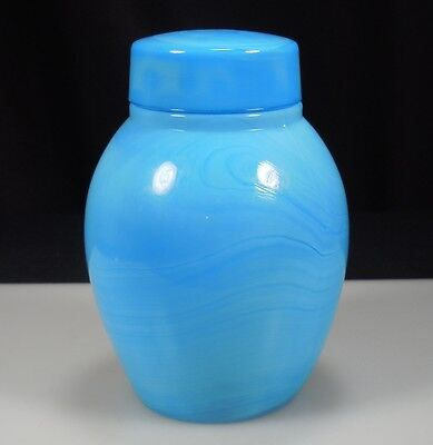 Antique Blue Slag Opaline Glass Jar