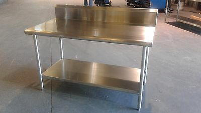 "60 1/4"" x 32 7/8"" x 36"" Tall  Stainless Steel Prep Table with 8"" Backsplash"