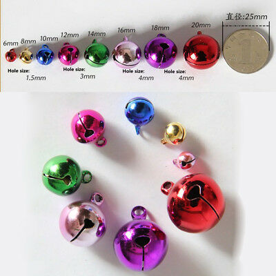 Hot Colorful Small Jingle Bells Loose Beads Christmas Decoration Crafts 6~20mm