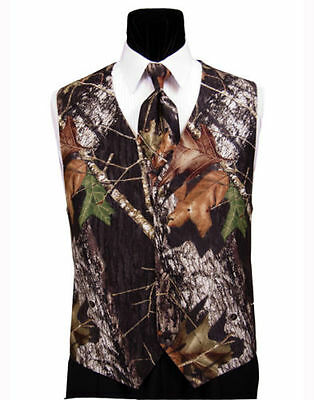 NEW Mens Mossy Oak Hunting Camo Tuxedo Vest Tie Hankie Alpine Wedding TUXXMAN