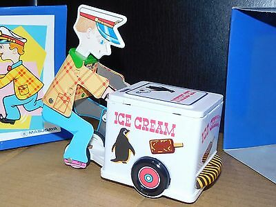 Masudaya Mini Ice Cream Vender Japan Box Eis Mann Figur Tin Toy Blech Spielzeug