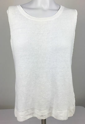 Talbots Women's Size X White Sleeveless Knit Sweater Vest 100% Linen Top Blouse