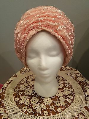 Vintage 40s/50s  Pink Turban Style Hat (Straw?) in Hat Box