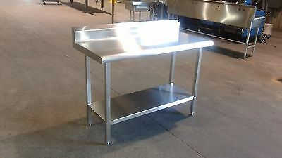 "52 1/4"" x 23 15/16"" x 36"" Tall Stainless Steel Prep Table with 5 1/4"" Backsplash"