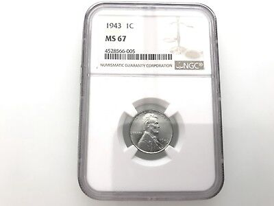 Fantastic 1943 Lincoln Steel Cent Ngc Ms-67