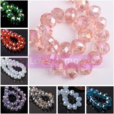 Wholesale 14/16/18mm Rondelle Faceted Crystal Glass Loose Spacer Beads Lot Bulk