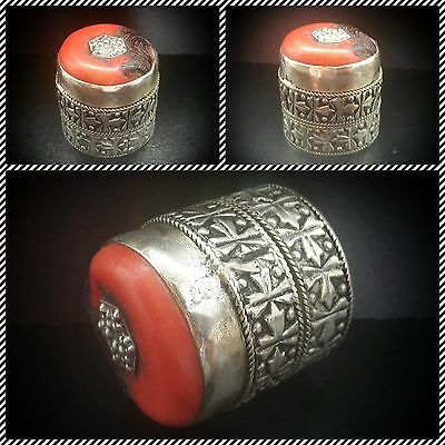 Vintage Tibetan Round Ornate Silver Box With Lid Inlaid With Coral Stone