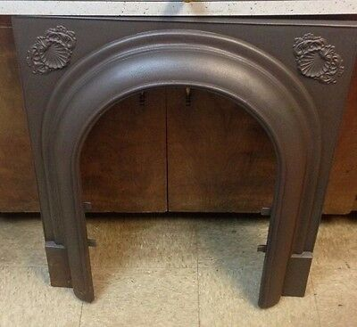 Antique Cast Iron Fireplace Surround Arched With Shell Motif