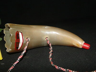 Vintage Antique Polished Wall Hanging Decor Cow Horn Asian