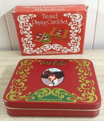 Coca Cola Tin With Playing Card Vintage Collectible Set In Original Box