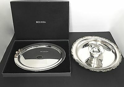 Lot of 2 ONEIDA Chip and Dip and Stainless Steel Gold Electroplate Platter NIB