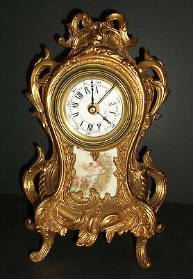 Vintage  FRENCH  GOLD GILT  CLOCK  marked  F.J.C.