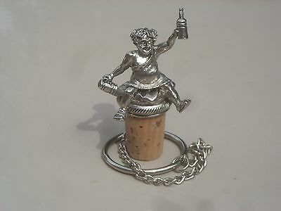 A Silver Plated Wine Bottle Stopper depicting Bacchus God of Wine