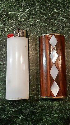 """""""Diamond"""" Vintage wood with mother of pearl Inlay Bic Lighter Case"""