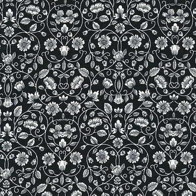 Opposite Attract Cameos Black on White Paintbrush 100/% Cotton fabric by the yard