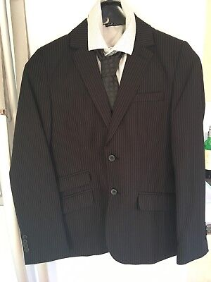Boys Black Pinstriped Suit Age 13