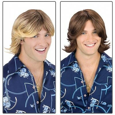 Ladies Man Wig 70s Feathered Surfer Disco Costume Accessory Fancy Dress