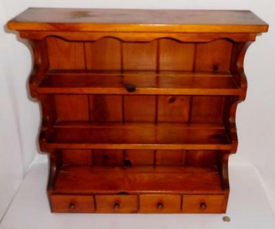 Antique Pine 3 Shelf with 4 Small Drawers Wall Shelf Lot 208