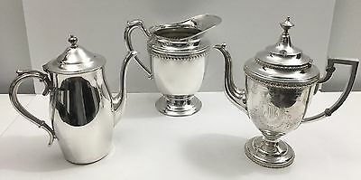 Lot of 3 Antique Vintage Silver Plate Coffee Tea Pot Water Pitcher
