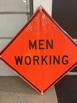 """TRAFFIX DEVICES 48""""x48"""" FLUORESCENT SIGNS MEN WORKING WORDS ROLL UP"""