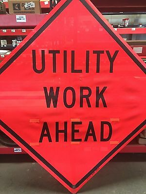 """TRAFFIX DEVICES 48""""x48"""" MESH SIGNS UTILITY WORK AHEAD ROLL UP"""