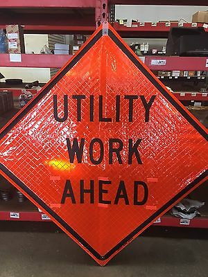 "TRAFFIX DEVICES 48""x48"" FLUORESCENT SIGNS UTILITY WORK AHEAD ROLL UP"
