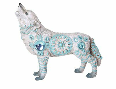 The Wolf Spirit Collection Indian Turquoise Sky Stone Wolf Spirit Collectible