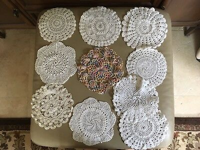 Vintage Doilies Lot of 10, Beautiful Hand-made