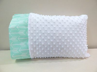NWT Aqua Arrow Teal White Minky Toddler Bed Pillowcase 12x16 Neutral Nap Forest