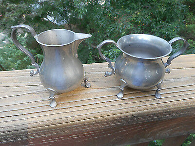 "Vintage Colonial Style ""williamsburg Restoration-Stieff"" Pewter Sugar & Creamer"
