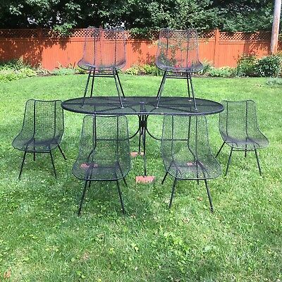 Vintage Mid Century Modern Woodard Sculptura Patio Set 6 Chairs Table Wire Mesh