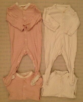 4 Number M&S Sleepsuits / Baby grows Size 6 - 9 Months