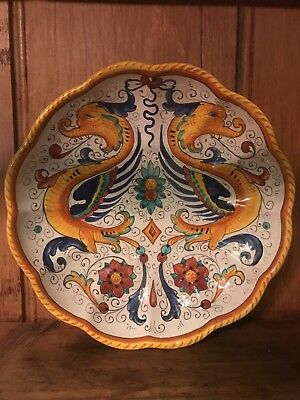 Deruta Italy Dragon Scalloped Pasta Serving Bowl plate Hand Painted Yellow Blue