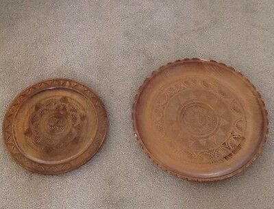 Vintage Pair Wooden Bread Plates Fruit Cheese Board Carved Artisan Xxl