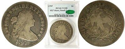 1797 9x7 small letters Draped bust dollar PCGS VG8 CAC... B-2 R4 RARE!
