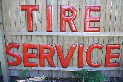 """1950's Texaco """"Tire Servce"""" 18"""" Porcelain Letters-Beautiful Cond !! Free Ship!!"""