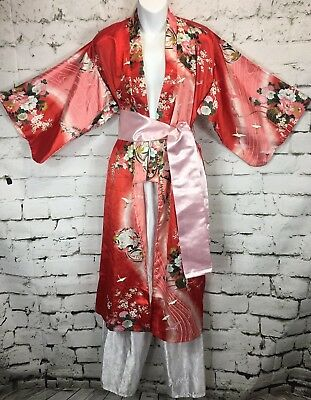 "Juguemm Japanese 45"" Kimono Red Robe Belt & Pants Floral Crane Storks Birds"
