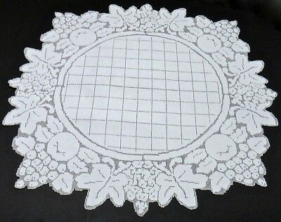 """Vintage Linen Mosaic Punchwork Teacloth Table Topper 35"""" Fruit Motifs - Italy"""